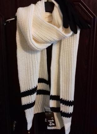 Набор: большой уютный шарф и перчатки с полосами, forever 213