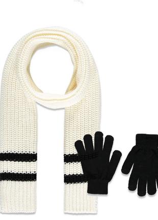 Набор: большой уютный шарф и перчатки с полосами, forever 211