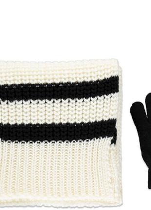 Набор: большой уютный шарф и перчатки с полосами, forever 215