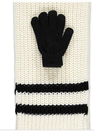 Набор: большой уютный шарф и перчатки с полосами, forever 214