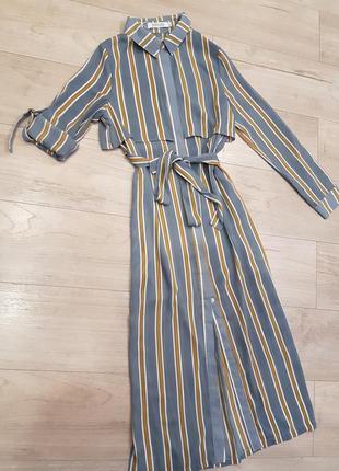 Бомбезное платье рубашка в полоску с карманами