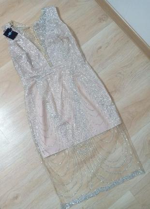Облегающее бежевое вечернее платье s m l2