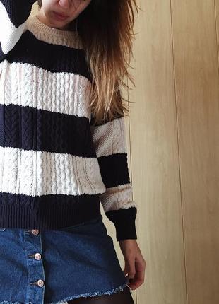 Объёмный свитер в полоску от mango
