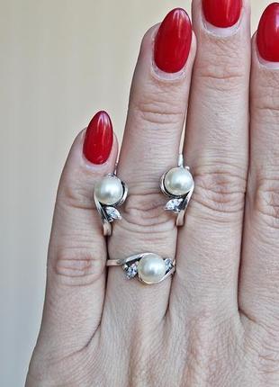 Серебряный набор фрейя (кольцо 17,5) скидка 10%!3 фото