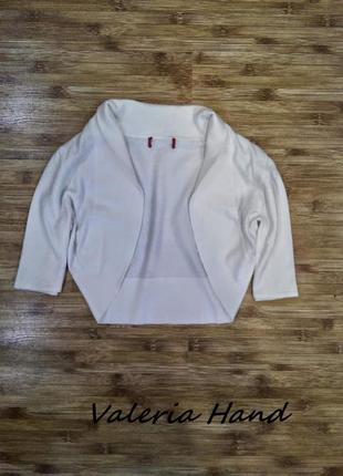 Белое вязаное болеро - укороченная кофта - накидка - размер 42-441