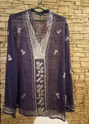 Шифоновая блуза цвета《 джинс》56-58р1