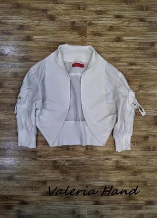 Белое коттоновое болеро - укороченная кофта -накидка - размер 44-461