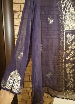 Шифоновая блуза цвета《 джинс》56-58р2