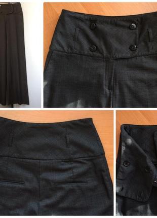 Интересные коричневые брюки клёш от бедра/палаццо/высокая посадка/на высокий рост3