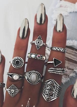 Шикарный набор колец кольца на фаланги в бохо этно индийском стиле1