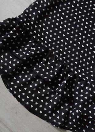 Красивая шифоновая блуза блузка с оборкой воланом внизу в сердечки  р. l xl3