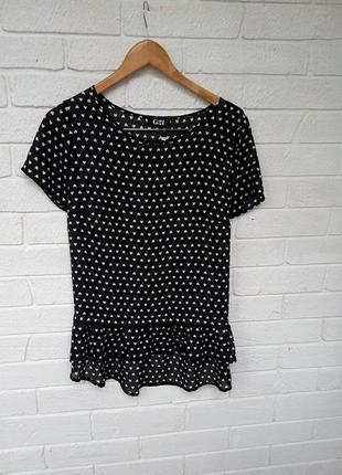 Красивая шифоновая блуза блузка с оборкой воланом внизу в сердечки  р. l xl5
