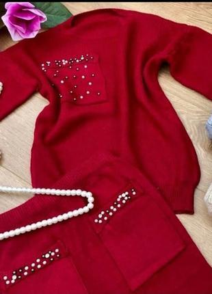 Комплект костюм юбка миди кашемир шерсть универсальный с-м-л с жемчугом2