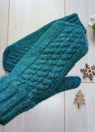 Теплые вязаные бирюзовые варежки, рукавицы1
