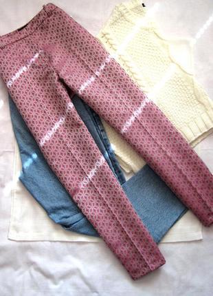Жаккардовые брюки-дудочки с завышенной талией topshop1
