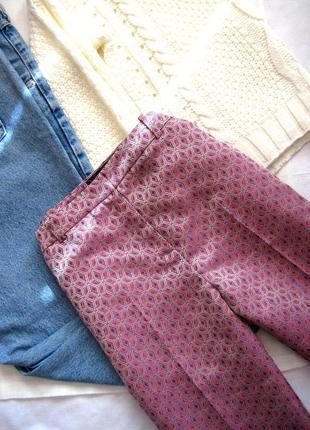 Жаккардовые брюки-дудочки с завышенной талией topshop3