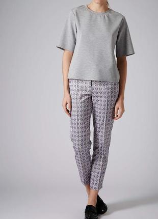 Жаккардовые брюки-дудочки с завышенной талией topshop4