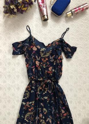 Красивое платье сарафан  цветочного принта м - размер миди2 фото