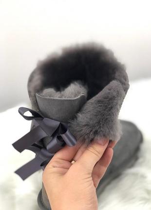 Шикарные женские зимние угги с натуральным мехом ugg bailey bow 2 boot 1016225 (grey)1