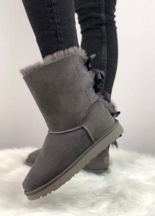 Шикарные женские зимние угги с натуральным мехом ugg bailey bow 2 boot 1016225 (grey)3