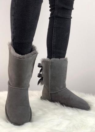 Шикарные женские зимние угги с натуральным мехом ugg bailey bow 2 boot 1016225 (grey)4