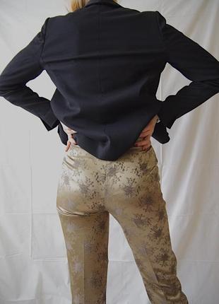 Люксовые брюки с цветочной вышивкой2