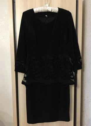 Платье новогоднее бархатное вечернее нарядное с сеткой сетка