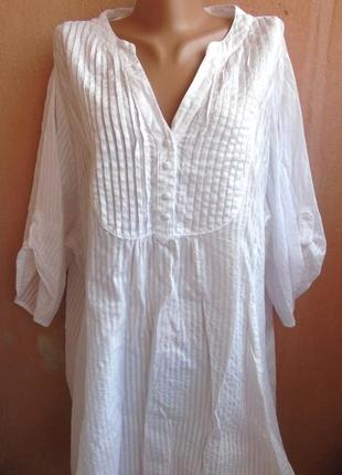 Белая коттоновая блузка 58-601