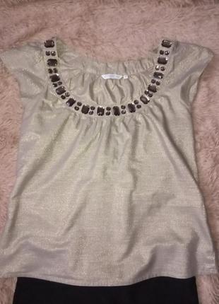 Нарядная золотистая блузка от new look3