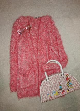 Кофта кардиган h&m травка свитер нюдовый розовый пушистый цвет пудра