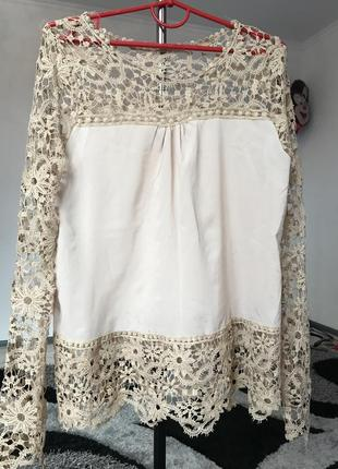 Блуза беж нюд кружева блузка