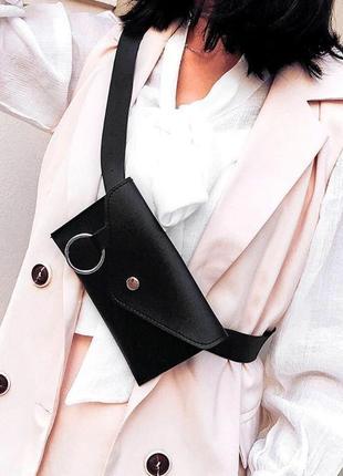 Новая черная сумка бананка на пояс через плечо1