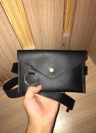 Новая черная сумка бананка на пояс через плечо4