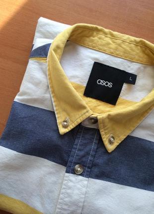Мужская хлопковая рубашка в полоску/короткий рукав
