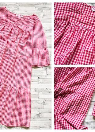 Яркое котоновое платье в клетку bon prix большой размер4