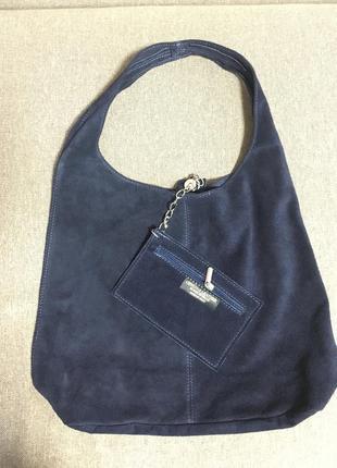 Замшевая темно-синяя сумка monica италия разные цвета5 фото