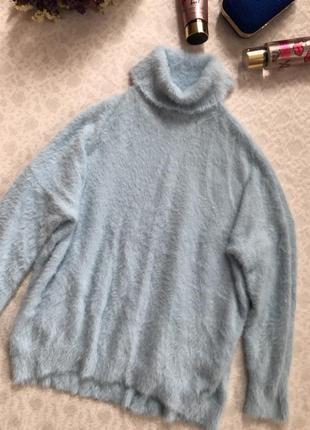 Wallis свитер мелкая травка голубого небесного цвета м - размер, мягкий , теплый1