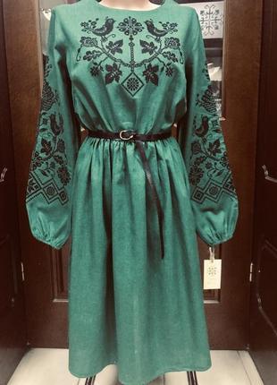 Шикарное льняное изумрудное платье с вышивкой вышиванка вишиванка размер 46-481 фото