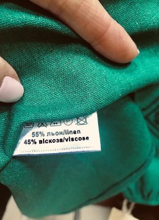Шикарное льняное изумрудное платье с вышивкой вышиванка вишиванка размер 46-482 фото
