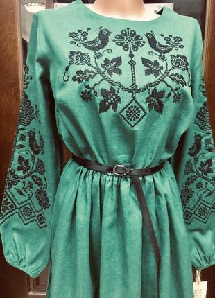Шикарное льняное изумрудное платье с вышивкой вышиванка вишиванка размер 46-484 фото