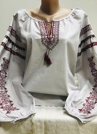 Красивая блуза бохо в молочно-сером цвете с вышивкой вышиванка вишиванка лён размер 48-501