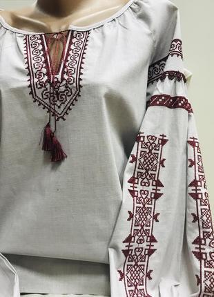 Красивая блуза бохо в молочно-сером цвете с вышивкой вышиванка вишиванка лён размер 48-503