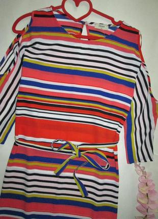 Плаття в кольорову полоску і розрізами на рукавах2