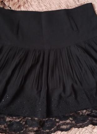 Нарядная пышная юбка с кружевным подьюпником1