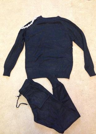 Кашемировый костюм с камнями на плече3
