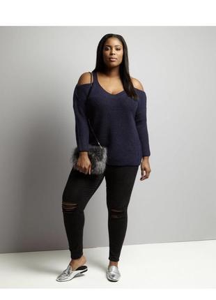 Стильный вязаный свитер оверсайз с открытыми плечами, батал объёмный3