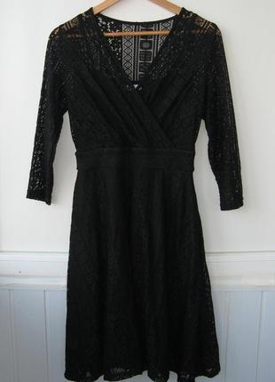 Ажурное платье, разно-фактурный гипюр, вечернее, коктейльное, blue vanilla5