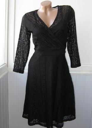 Ажурное платье, разно-фактурный гипюр, вечернее, коктейльное, blue vanilla1