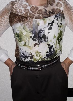 Яркая шифоновая блуза в анималистич. принт от тм мармелад