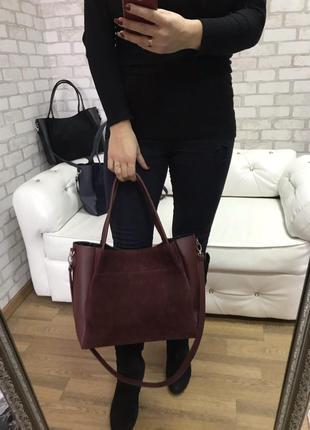 Замшевая сумка цвета марсала2